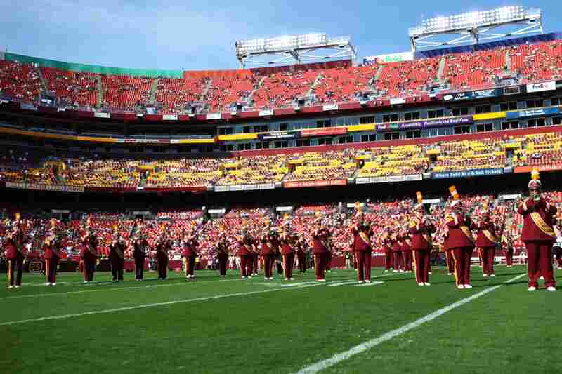 "The song ""Hail to the Redskins"" premiered on Aug. 17, 1938, as the official fight song of the Washington Redskins. Here, the band plays during the Sept. 19 pre-game show."