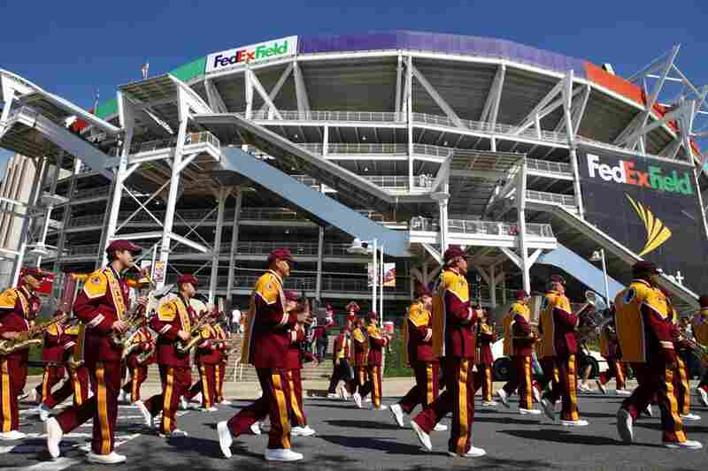 The band parades around FedEx Field, playing to cheering fans who line the streets surrounding the stadium before the game. The Redskins have the longest-running marching band in professional sports history.