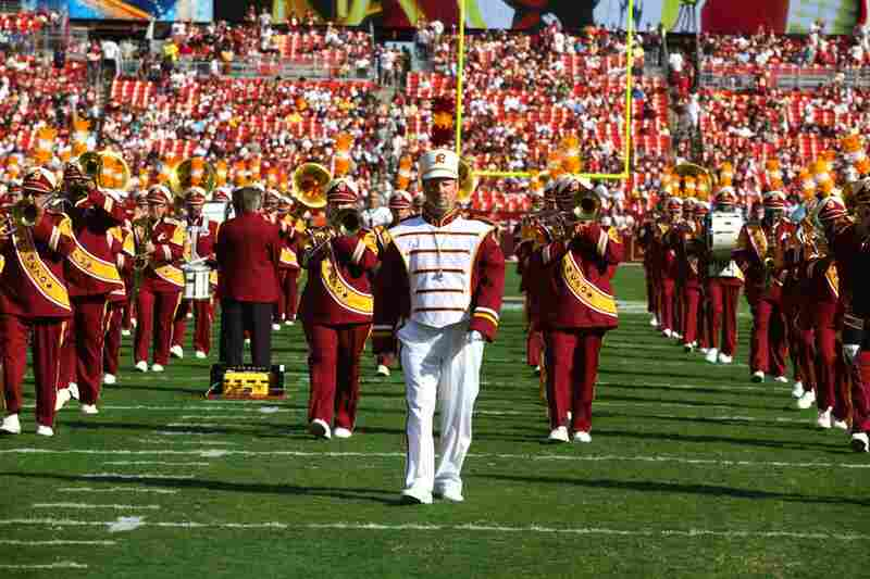 Drum major John Carpenter leads the Washington Redskins Marching Band during the Sept. 19 pre-game show at FedEx Field in Landover, Md. This is Carpenter's 15th season in the band, and his 10th as the drum major.