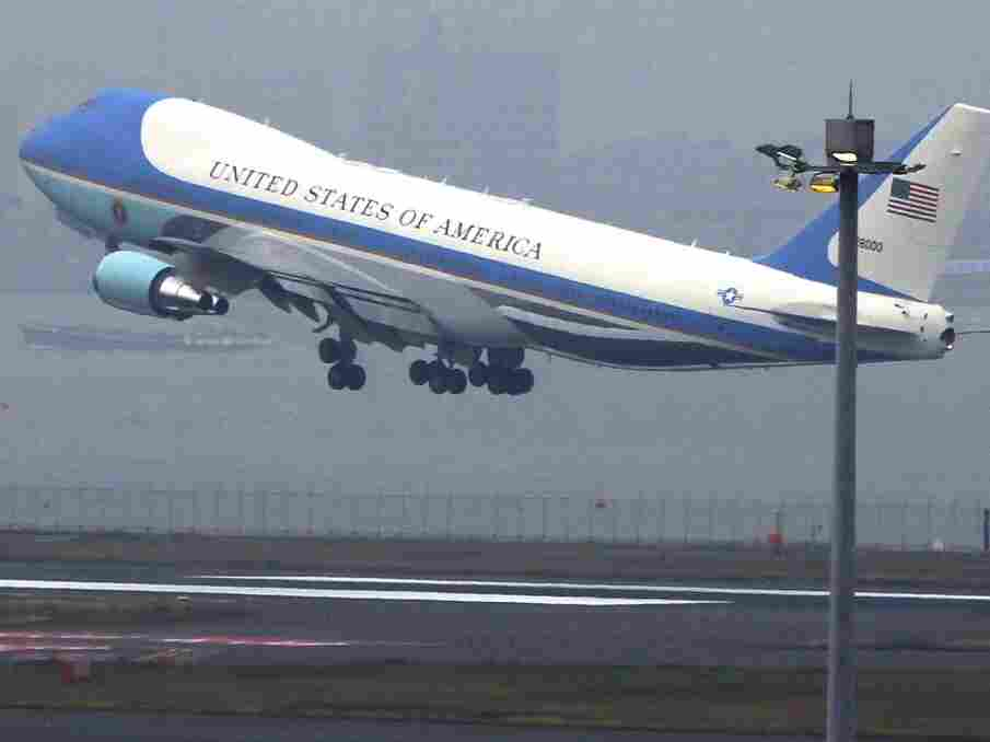 Air Force One Leaves Japan for Washington