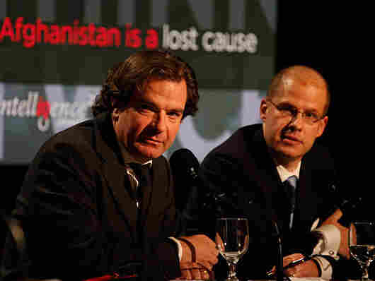 """Peter Bergen (left) and Max Boot argue against the motion """"Afghanistan Is a Lost Cause."""""""