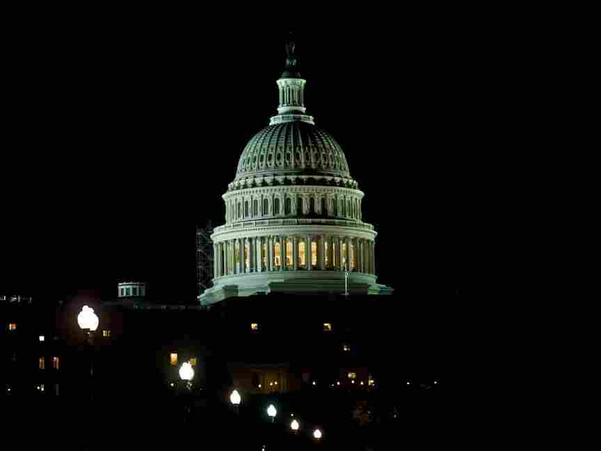The US Capitol is seen at night in Washington, D.C.
