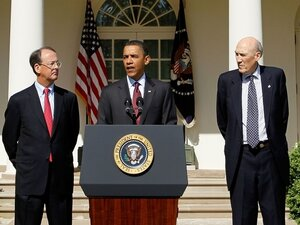 President Barack Obama speaks with co-chairs of the Deficit Commission.