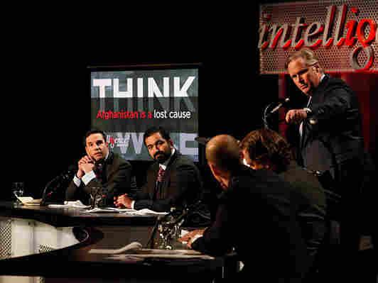 Matthew Hoh, Nir Rosen and John Donvan at an Intelligence Squared U.S. debate on Afghanistan.