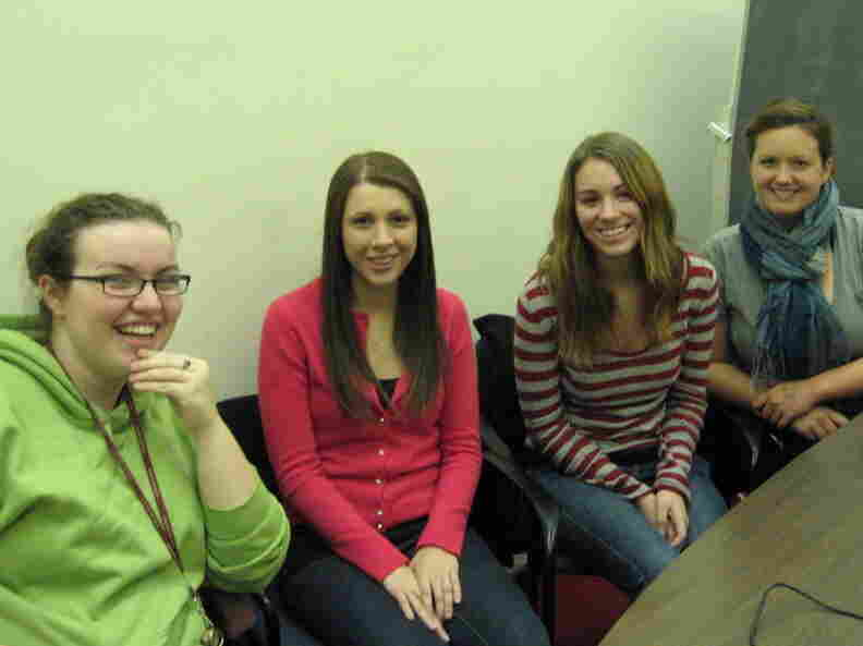 SUNY Albany students (from left) Jessica Stapf, Alexandra Cialeo, Michelle Lach, and Beth Conkey