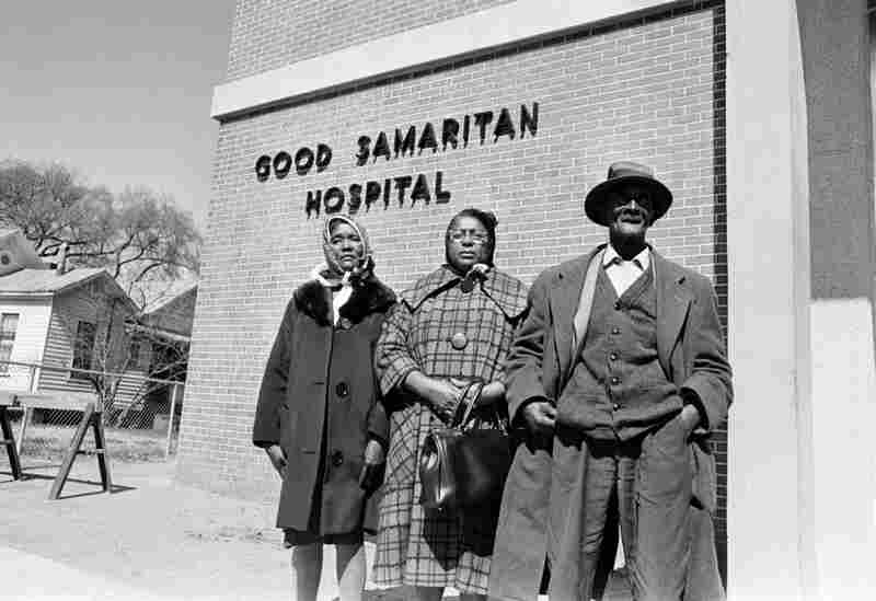 Jackson's mother Viola Jackson (left), cousin Rachel Thomas (center), and grandfather Cager Lee (right) arrive in Selma, Ala., to claim his body. Jackson died on Feb. 26, 1965, from a gunshot wound eight days after being shot by former Alabama State Trooper James Bonard Fowler, who claims he acted in self-defense.