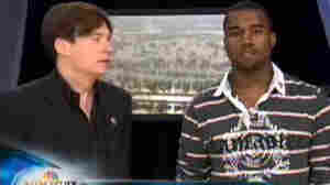 Actor Mike Myers (left) and rapper Kanye West participated in a 2005 hurricane relief special on NBC