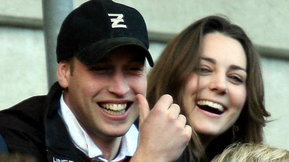 Britain's Prince William and Kate Middleton watch an England versus Italy rugby match at Twickenham stadium in London in 2007. (David Davies/Associated Press)