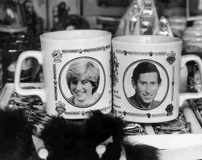 Mugs for sale in the West End of London celebrating the Royal Wedding of Prince Charles and Lady Diana Spencer, May 22, 1981.