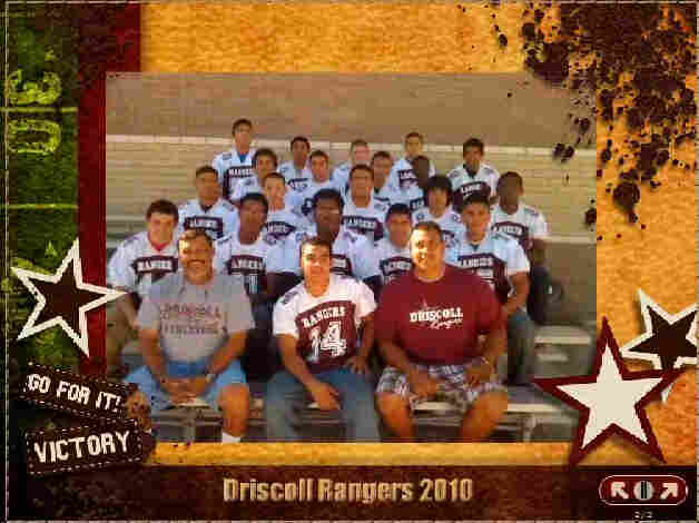 Coaches and players of Driscoll Middle School's eighth grade football team.