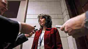 Kristi Noem talks with the media on Capitol Hill.