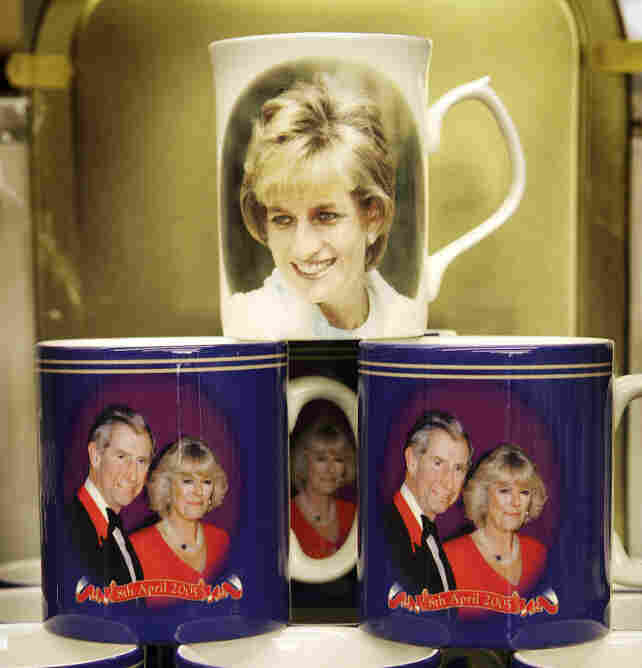 Souvenir mugs honored the late Princess Diana and well as Prince Charles and Camilla Parker-Bowles.