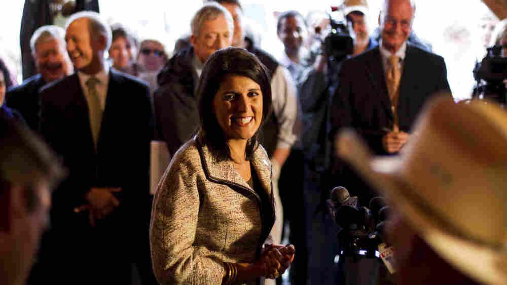 Gov.-elect Nikki Haley greets voters in Lexington, S.C.