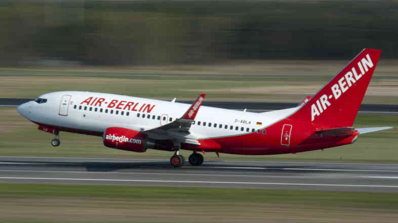 In this April 20, 2010 file photo, an Air Berlin jet takes off at Tegel airport in Berlin, Germany.