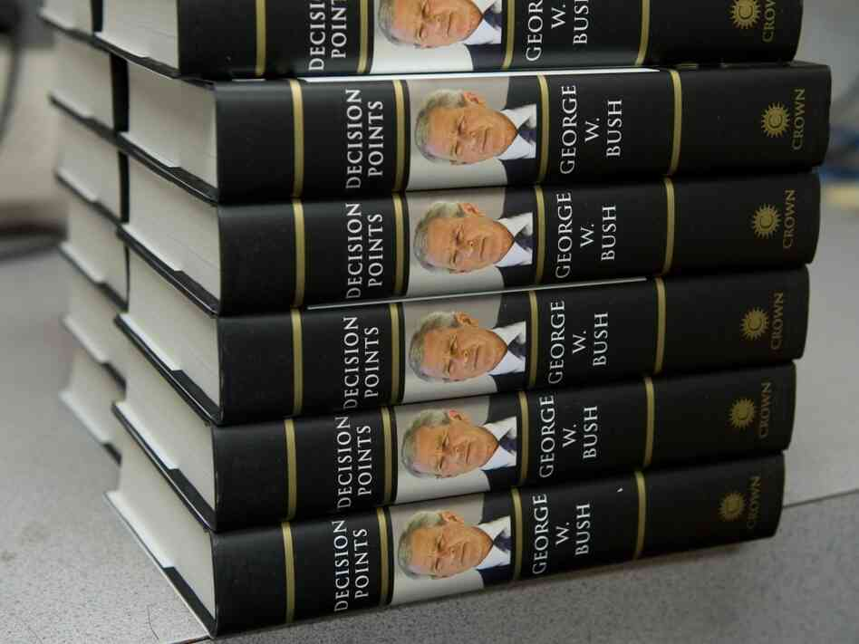 Former president George W. Bush's book 'Decision Points,' sits in the storeroom a bookstore.