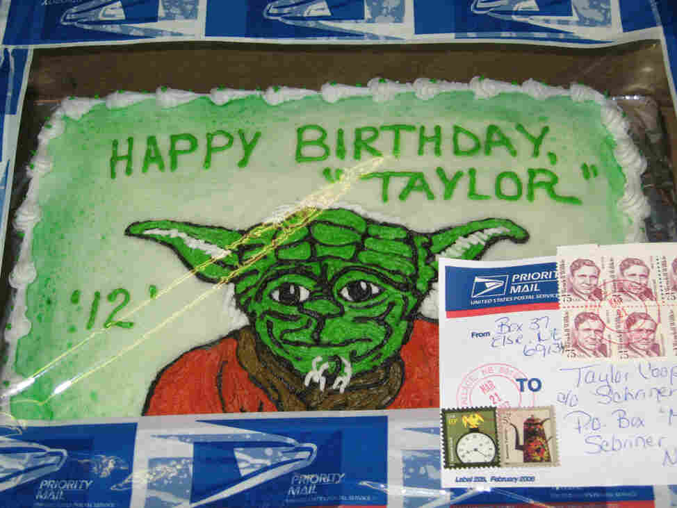 Birthday cake sent through the mail to Dianne Cooper's son, Taylor.