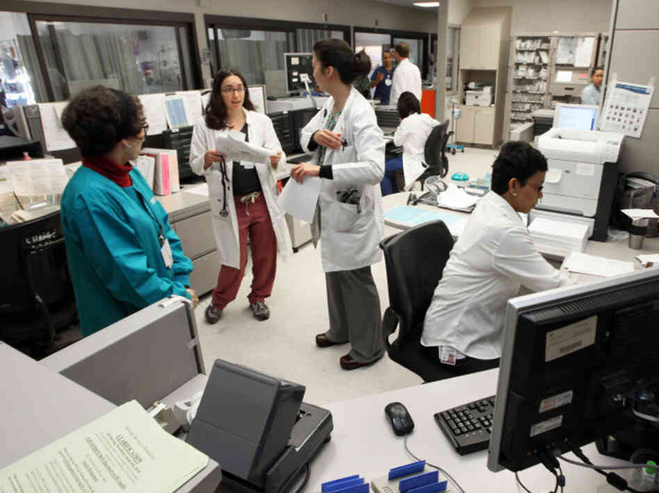 The busy nurses station at California Pacific Medical Center, Pacific Campus.