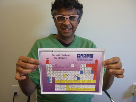Sanat Kumar, with periodic table and most metals crossed out