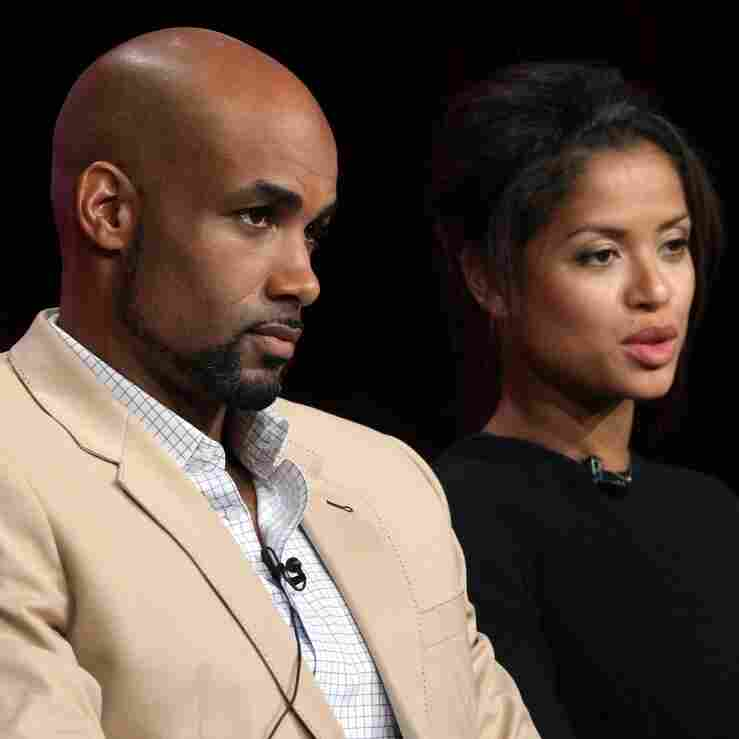 Undercovers stars Boris Kodjoe and Gugu Mbatha-Raw speak onstage during a press tour.