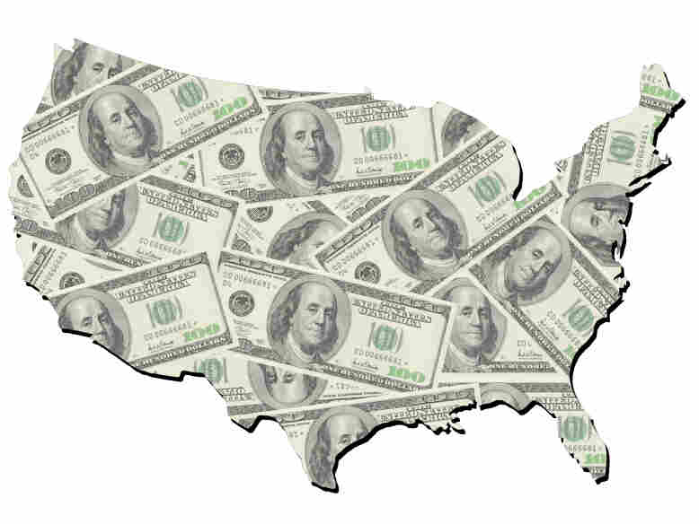 Map of the United States made of $100 bills.