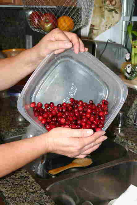 Wash the cranberries...