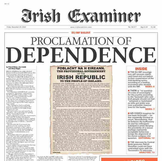The Irish Examiner's front page, Nov. 19, 2010.
