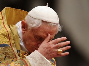 Pope Benedict XVI in St Peter's Basilica on Saturday.
