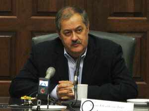 Massey Energy CEO Don Blankenship speaks to reporters about the April mining disaster.