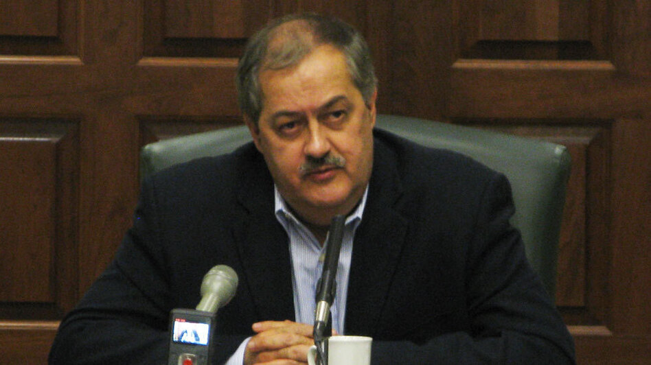 Massey Energy CEO Don Blankenship took questions from a selected group  of local  and national reporters for 2 and 1/2 hours Friday at the  company's West Virginia offices.