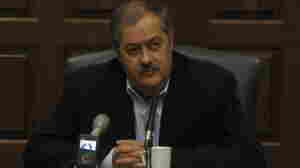 Massey Energy CEO Don Blankenship speaks to reporters.