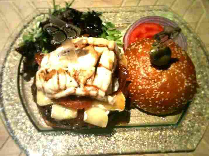 Top view of the $777 burger.
