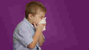 kid blowing nose