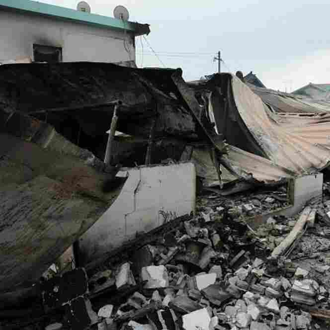 Destroyed houses are seen Wednesday on Yeonpyeong Island, South Korea.