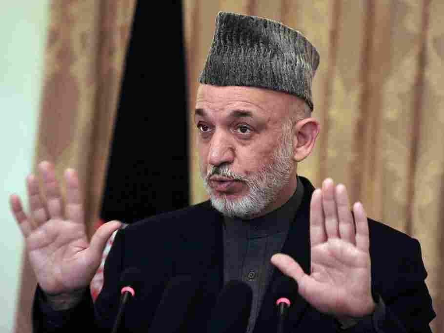 Afghanistan's President Hamid Karzai during a news conference in Kabul today.
