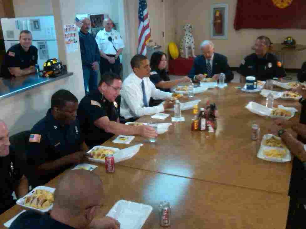 Obama and Biden at Kokomo firehouse.