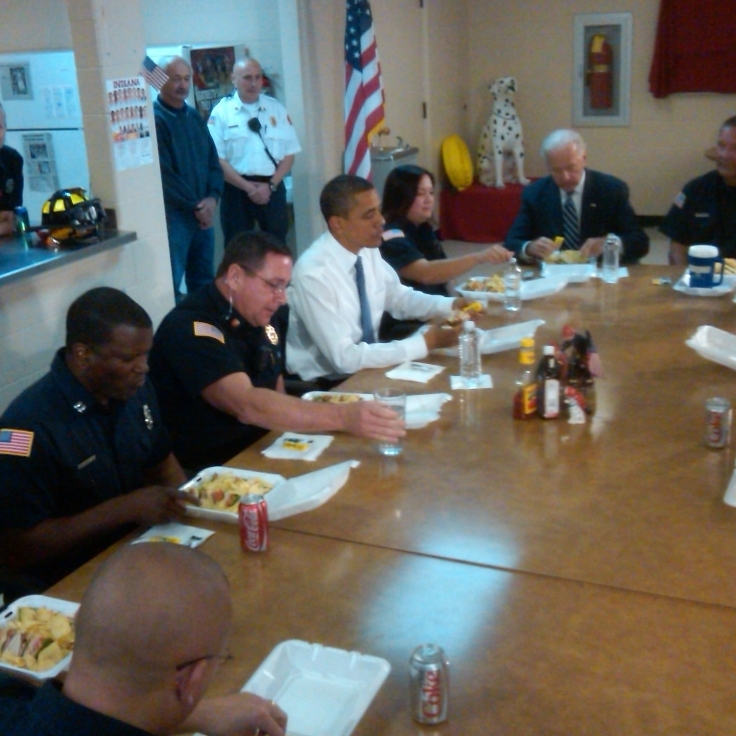 Obama and Biden at Kokomo firehouse.