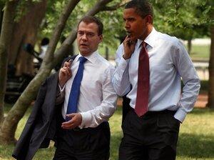 President Barack Obama and Russian Federation President Dmitry Medvedev stroll near  the White House