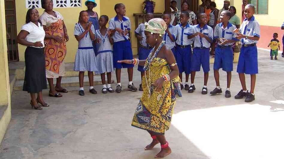 Students at King David School in Teshie, Accra, Ghana perform a dance.
