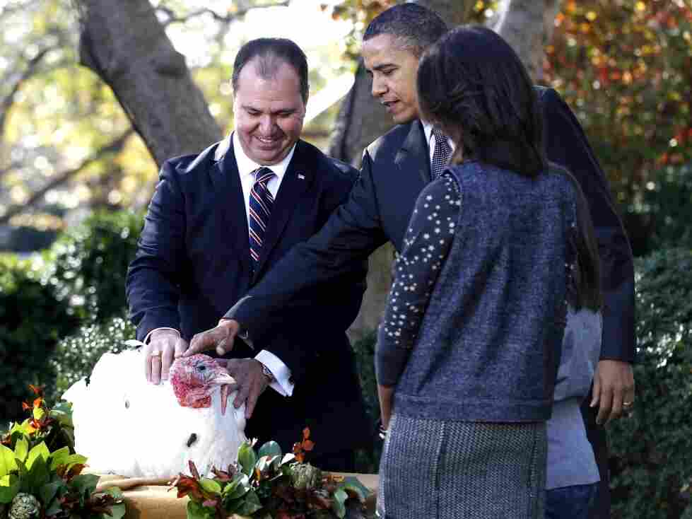 President Obama with daughters and turkey
