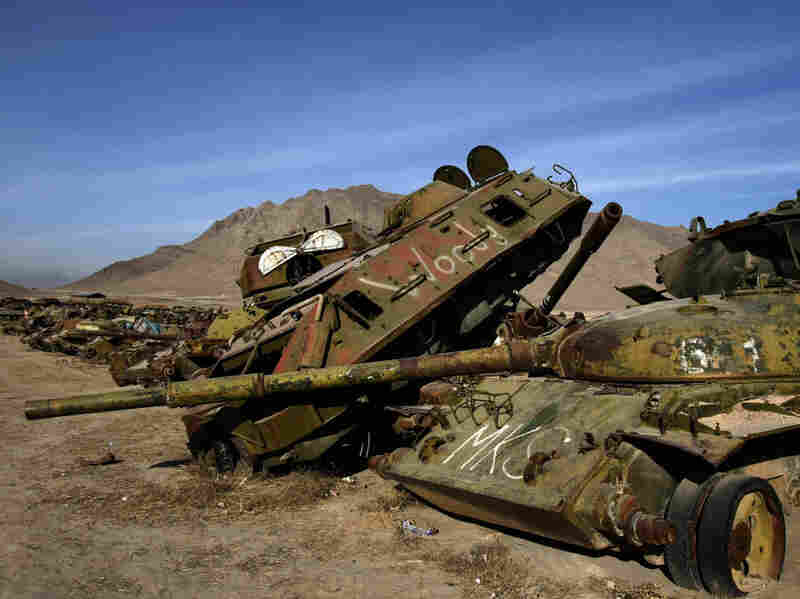 A junkyard of Soviet armored vehicles and tanks at the Kabul Military Training Camp
