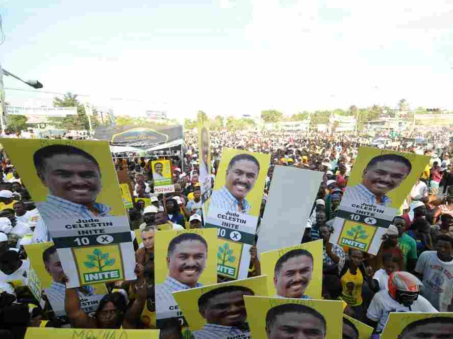 Supporters of presidential candidate Jude Celestin gather for a rally on Thursday in Port-au-Prince.