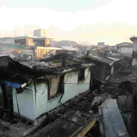 Destroyed houses are seen on Yeonpyeong Island, South Korea