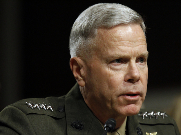 "U.S. Marine Corps Gen. James Amos testifies on Capitol Hill in September. Amos, now the Marine Corps' top officer, told Congress earlier this month that ""don't ask, don't tell"" should remain the law of the land."