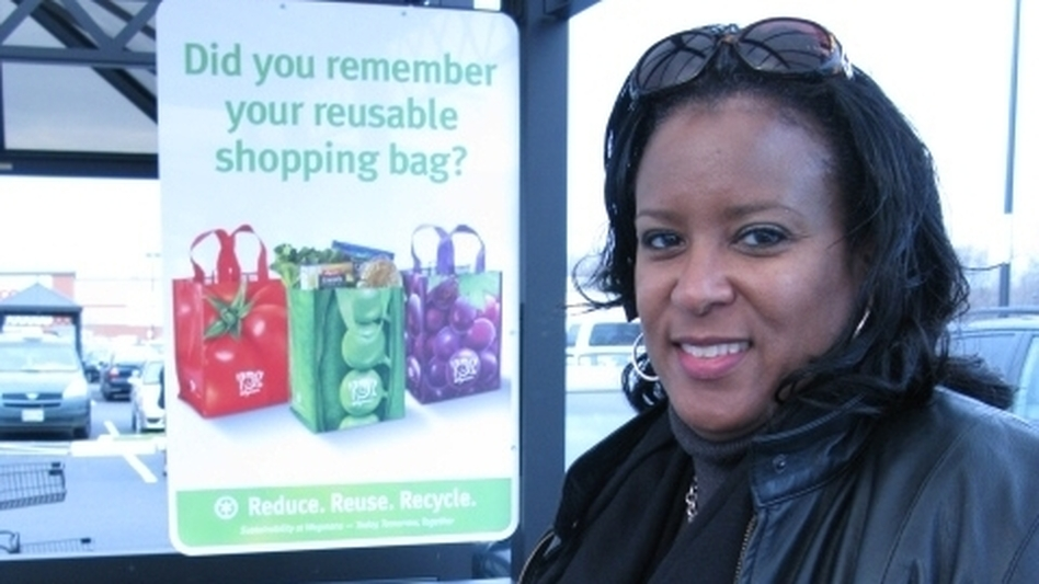 Shopper Andrea Harrison says despite reports about lead in reusable bags, she'll keep using them as her way of keeping plastic out of waterways.