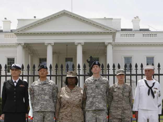 "Service members handcuffed themselves to the White House fence during an April protest for gay rights. The potential repeal of the ""don't ask, don't tell"" policy barring openly gay troops from serving raises practical questions about housing and fairness for the Pentagon."