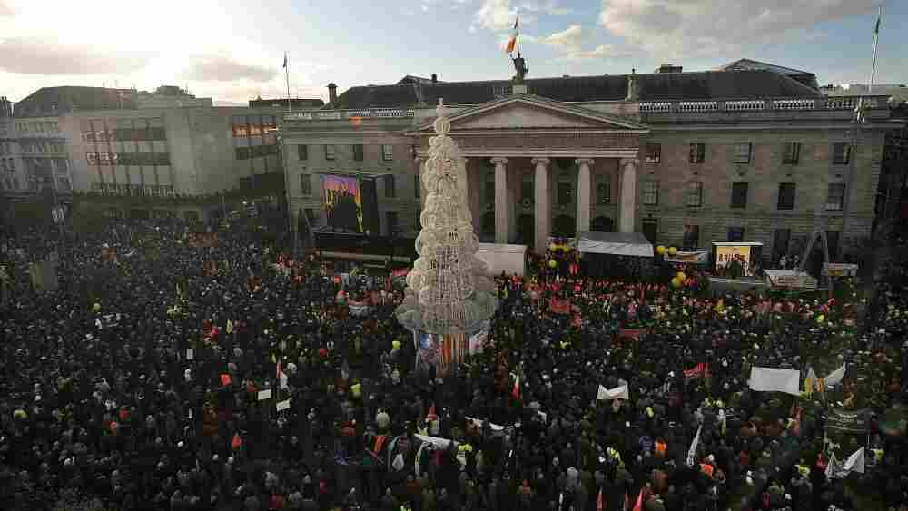 Anti-bailout protesters gather outside the General Post Office in Dublin, on Saturday, Nov. 27, 2010