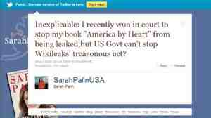 2008 GOP vice presidential nominee Sarah Palin's tweet.