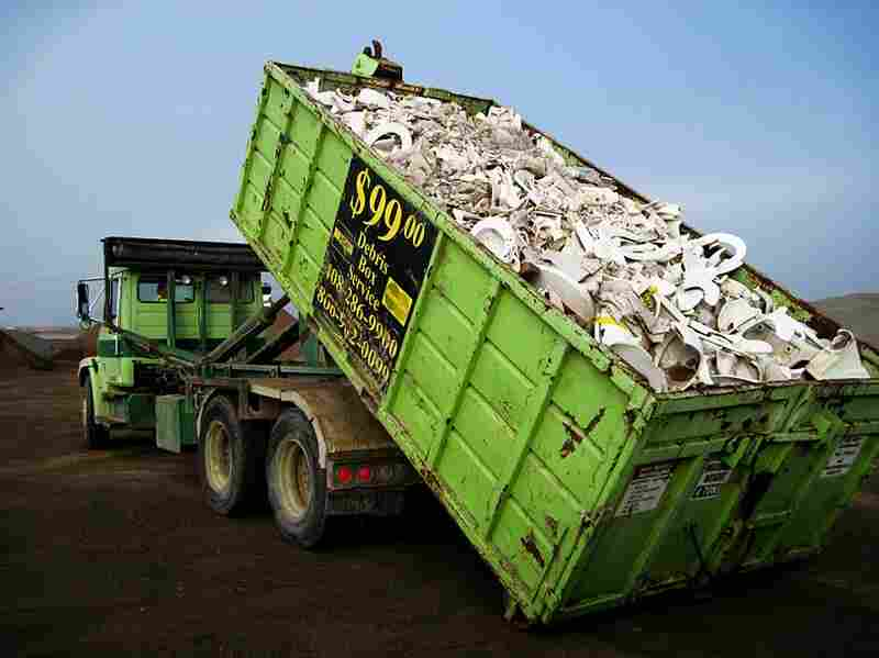 A truck of porcelain waste to be recycled as tiles