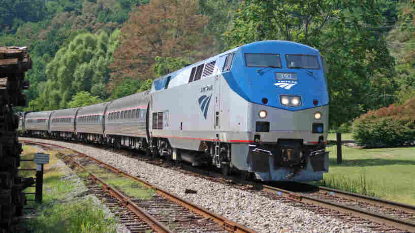 An Amtrak train in Afton, Virginia.