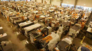 The gymnasium at San Quentin State Prison is filled with inmates' bunks because of overcrowding.